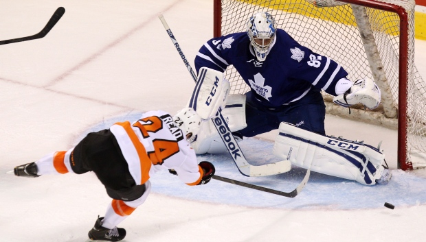 Flyers' Matt Read, Leafs goalie Christopher Gibson