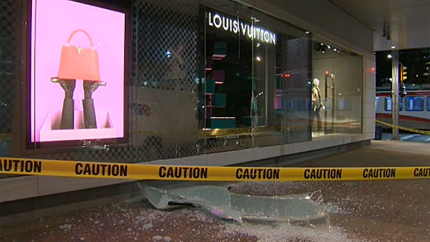 Calgary Police are also investigating after someone ran a Ford Mustang into the front window of the Holt Renfrew location on 8 Ave. S.W.