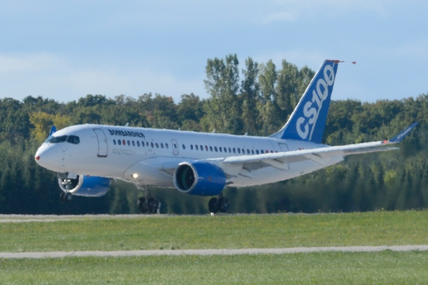 Bombardier's CS100 takes off from Montreal