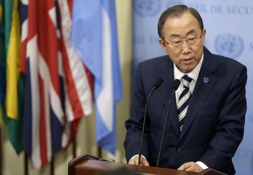 United Nations Secretary-General Ban Ki-moon speaks to reporters after attending a Security Council meeting about Syria at United Nations headquarters, Monday, Sept. 16, 2013. (AP / Seth Wenig)