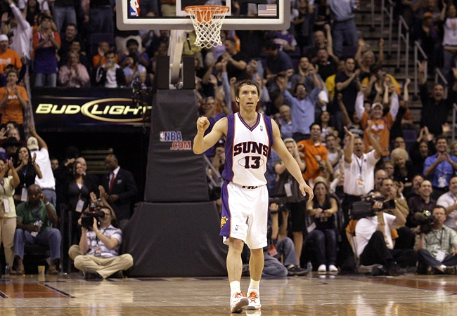 Phoenix Suns guard Steve Nash celebrates during NBA action on Thursday, March 13, 2008. Nash was raised in Victoria, B.C. (AP / Paul Connors)