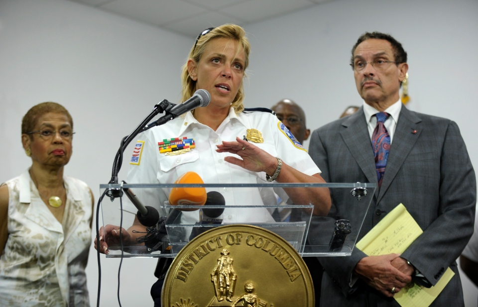 District of Columbia Police Chief Cathy Lanier, center, flanked by Rep. Eleanor Holmes Norton, D-D.C., left, and District of Columbia Mayor Vincent Gray, right, briefs reporters on the shooting at the Washington Navy Yard in Washington, Monday, Sept. 16, 2013. (AP / Susan Walsh)
