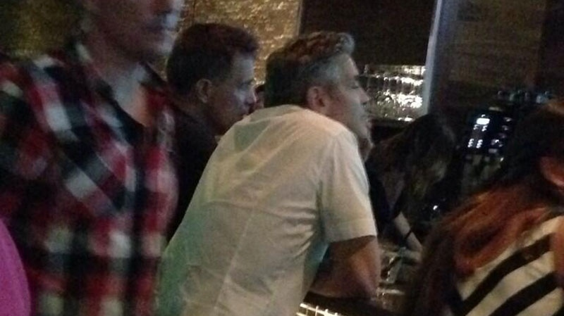 Clooney was also spotted at Joey Burrard on Friday, Sept. 13, 2013. (Twitter user @Hamhuishipcheck)