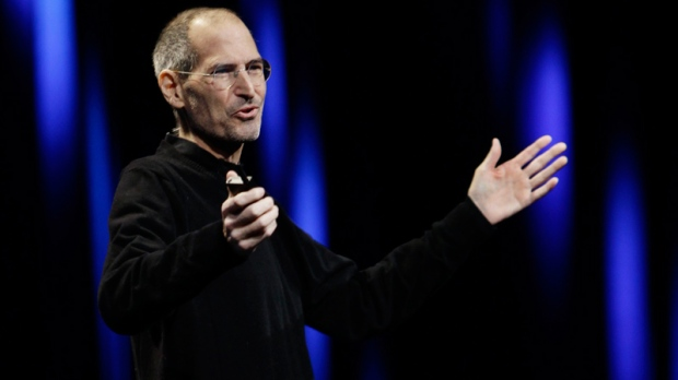 Apple CEO Steve Jobs gestures to his audience during a keynote address to the Apple Worldwide Developers Conference in San Francisco, Monday, June 6, 2011. (AP / Paul Sakuma)