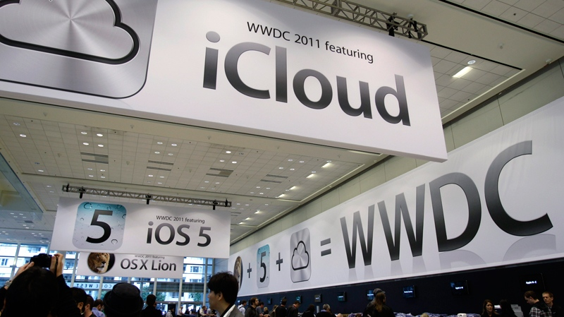 Posters on display at the Apple Worldwide Developers Conference in San Francisco, Monday, June 6, 2011 (AP / Paul Sakuma)