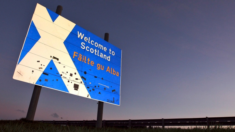 A view of a 'Welcome to Scotland' sign at the Scottish border, Scotland Friday, Jan. 13, 2012. Jan. 13, 2012. (AP Photo/Scott Heppell)