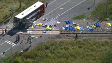 Ottawa bus train crash aerial view photo live