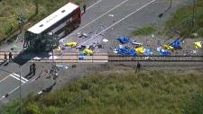 Ottawa bus train crash aerial view photo live