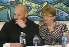 Bowerman's estranged husband, Chris Bowerman, speaks at a family press conference at SAIT.