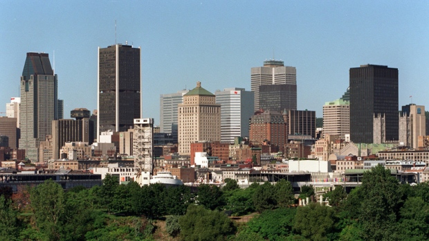 A view of the Montreal skyline, Wednesday, August 7, 2002 in Montreal. (CP PHOTO/Paul Chiasson)