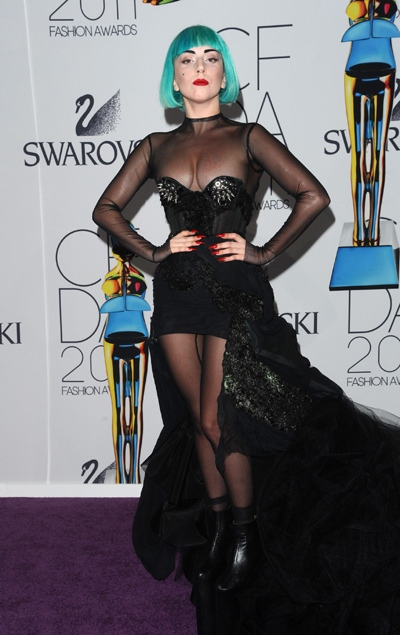 Lady Gaga attends the 2011 CFDA Fashion Awards at Alice Tully Hall on Monday, June 6, 2011, in New York. (AP / Peter Kramer)