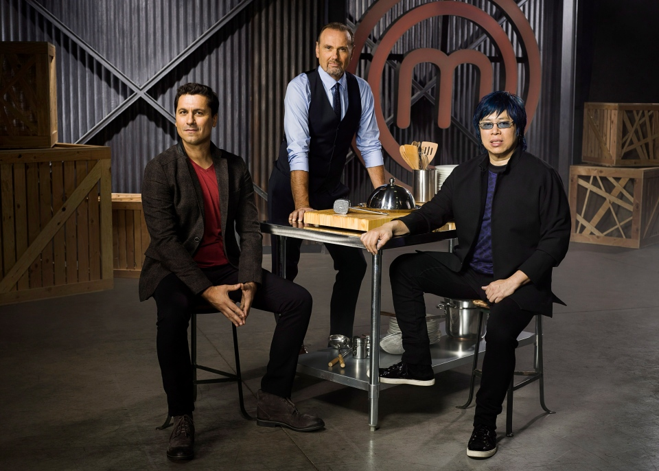 Restaurateurs Claudio Aprile (left), Michael Bonacini (standing) and Alvin Leung will put home chef contestants through their paces on the new CTV show 'MasterChef Canada,' debuting in the winter of 2014.