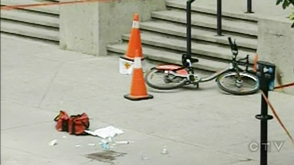 A cyclist was apparently shot by mistake by Montreal police Tuesday morning. (June 7, 2011)