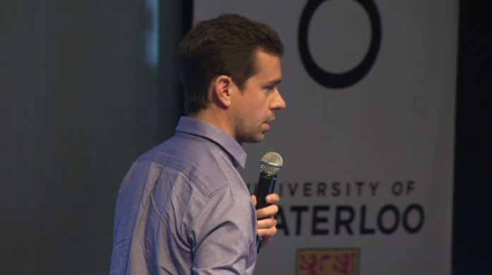 Jack Dorsey, co-founder of Twitter and Square, speaks to University of Waterloo students on Thursday, Sept. 19, 2013.