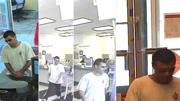 London police have released photos of a man sought in connection with a bank robbery at a Scotiabank branch on Fanshawe Park Road in London, Ont. on Thursday, Sept. 19, 2013.