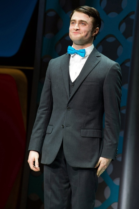 Daniel Radcliffe appears at the curtain call for the opening night performance of the Broadway musical 'How to Succeed in Business Without Really Trying' in New York, Sunday, March 27, 2011. (AP / Charles Sykes)
