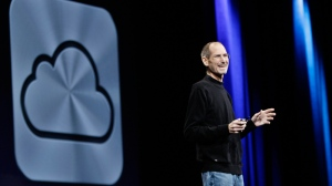 Apple CEO Steve Jobs introduces iCloud during a keynote address to the Apple Worldwide Developers Conference in San Francisco, Monday, June 6, 2011. (AP / Paul Sakuma)