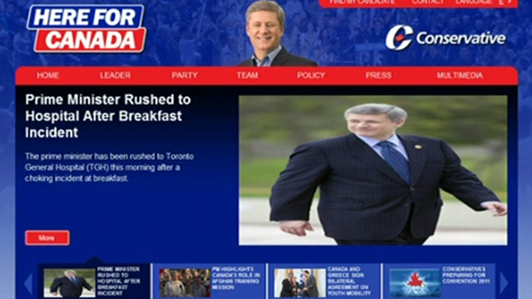 A news headline on the Conservatives' website claiming Prime Minister Stephen Harper was rushed to hospital is believed to be the work of hackers, Tuesday, June 7, 2011.