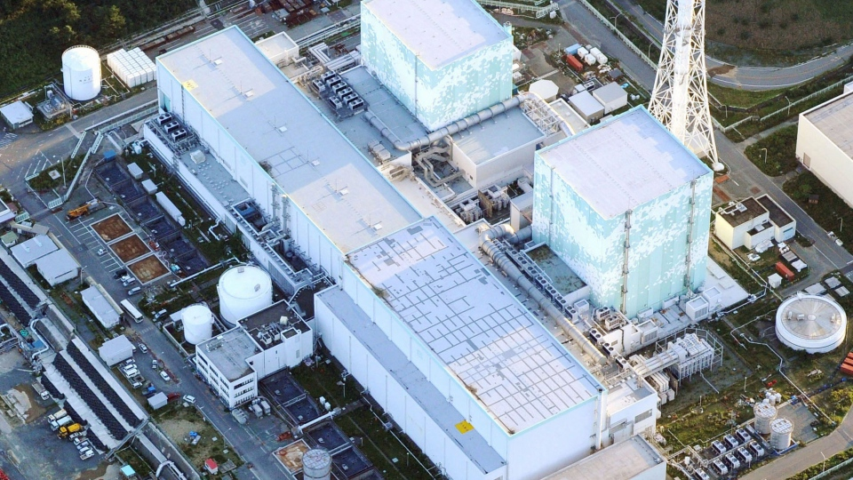 This aerial photo taken on Thursday, Sept. 19, 2013 shows No. 5, top, and 6 reactors at the Fukushima Dai-ichi nuclear power plant in Futaba town, Fukushima Prefecture, northeastern Japan. (AP / Kyodo News)