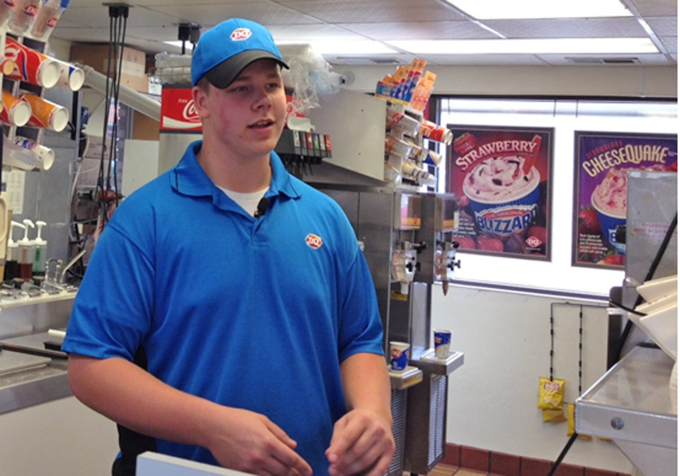 Dairy Queen employee Joey Prusak in Hopkins, Minn. in this image made available by WCCO TV.