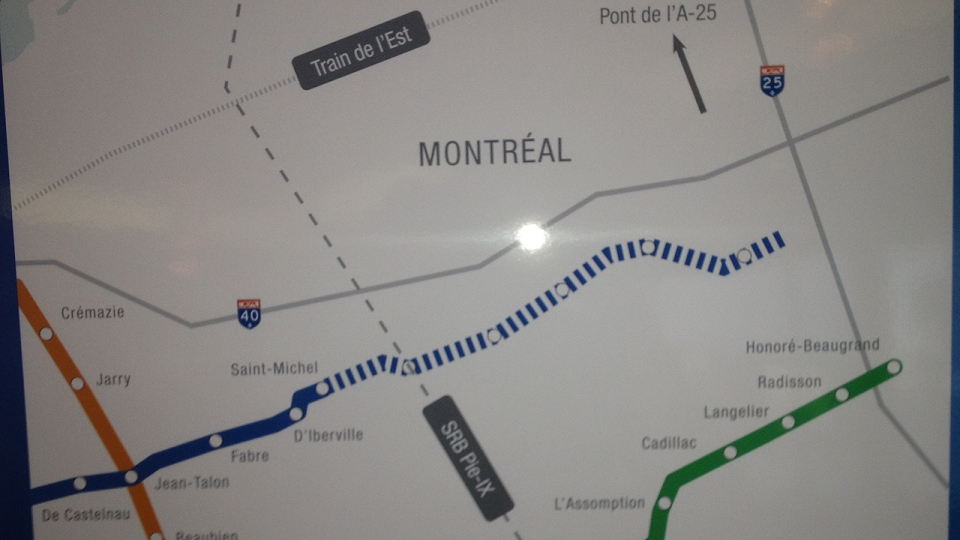 The proposed route for the extension of the Metro's Blue line (Sept. 20, 2013, CTV Montreal)