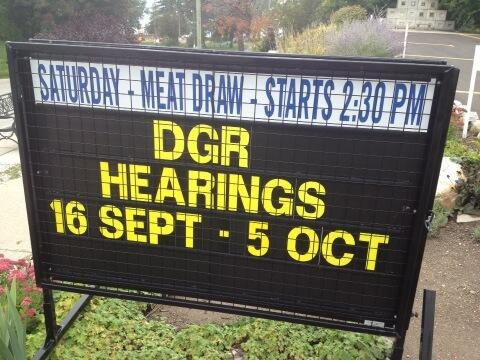 A sign promotes federal hearings on the 'Deep Geological Repository' proposal for nuclear waste in Kincardine, Ont. on Friday, Sept. 20, 2013. (Scott Miller / CTV London)