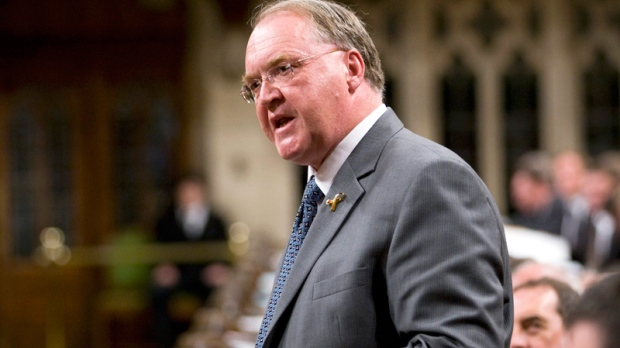 Minister of Fisheries and Oceans and Minister for the Atlantic Gateway Keith Ashfield rises during Question Period in the House of Commons on Parliament Hill in Ottawa, Wednesday June 8, 2011. (Adrian Wyld / THE CANADIAN PRESS)