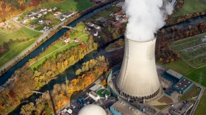 An aerial view of the nuclear power plant in Goesgen, Switzerland. (Keystone / Alessandro Della Bella)