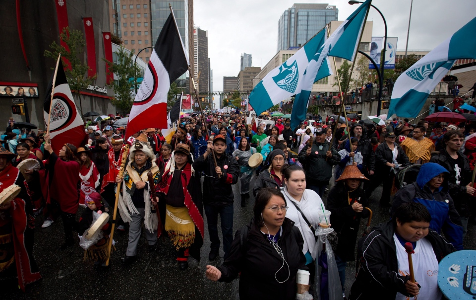 First Nations people are joined by supporters during the Walk for Reconciliation in Vancouver, B.C., on Sunday September 22, 2013. ( Darryl Dyck / THE CANADIAN PRESS)