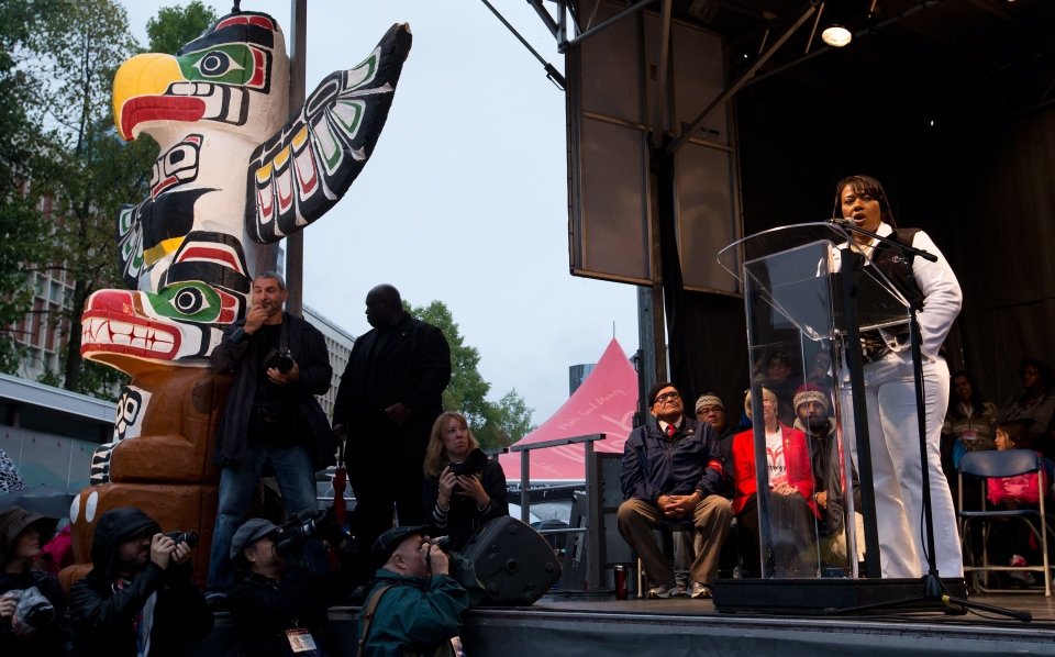 Dr. Bernice King, right, daughter of U.S. civil rights activist Dr. Martin Luther King, Jr., speaks during the Walk for Reconciliation in Vancouver, B.C., on Sunday September 22, 2013. (Darryl Dyck / THE CANADIAN PRESS)