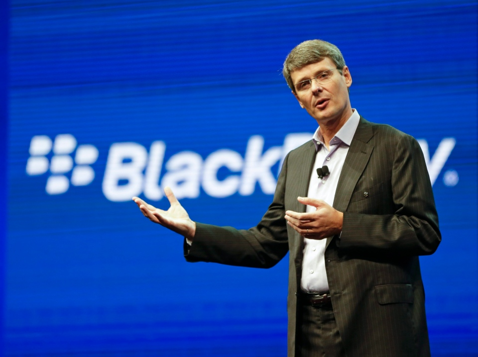 Thorsten Heins, president and CEO at BlackBerry, speaks at a conference in Orlando, Fla. May 14, 2013. BlackBerry has announced Heins is out as president and CEO. (AP / John Raoux)