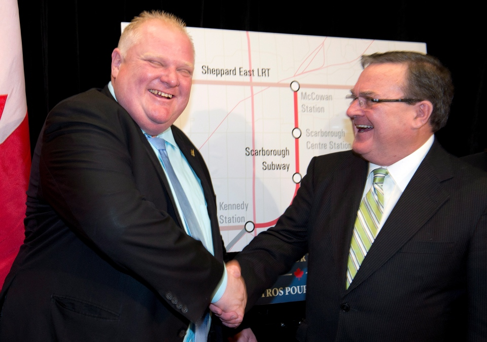 Finance Minister Jim Flaherty, right, and Toronto Mayor Rob Ford shake hands after announcing funding of a subway line extension in Toronto, Monday Sept. 23, 2013. (Frank Gunn / THE CANADIAN PRESS)