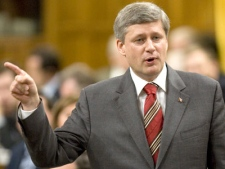 Prime Minister Stephen Harper responds to a question during question period in the House of Commons in Ottawa on Wednesday June 4, 2008. (Tom Hanson  / THE CANADIAN PRESS)