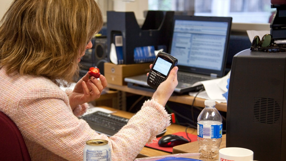 An office worker checks email during a lunch break at work in Montreal, Thursday, Aug. 12, 2010. (Paul Chiasson / THE CANADIAN PRESS)