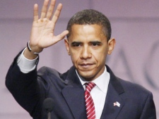 Democratic presidential candidate Sen. Barack Obama, D-Ill. waves after finishing a speech in Washington on Wednesday, June 4, 2008. (AP / Charles Dharapak)