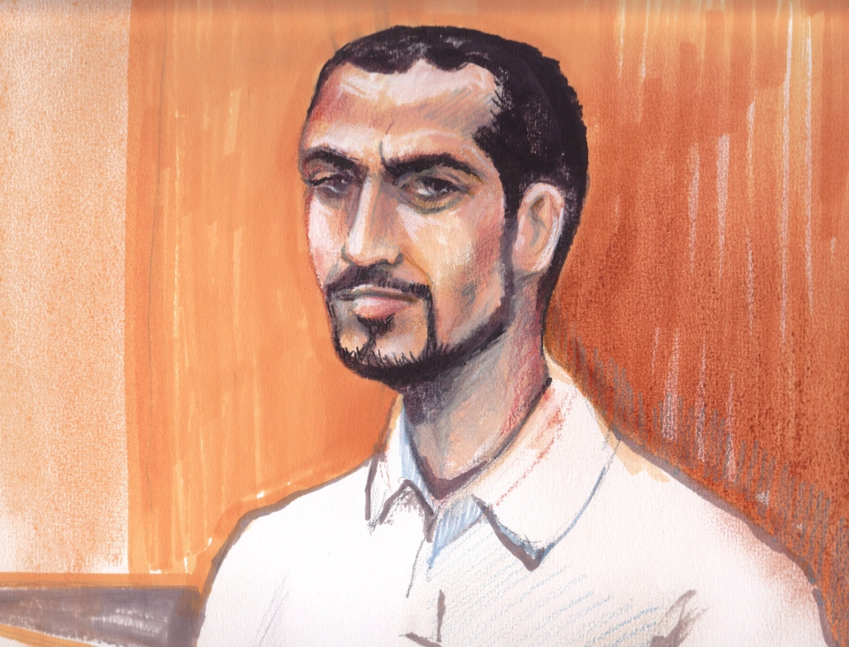 Omar Khadr appears in an Edmonton courtroom, Monday, Sept. 23, 2013 in this artist's sketch. (Amanda McRoberts / THE CANADIAN PRESS)