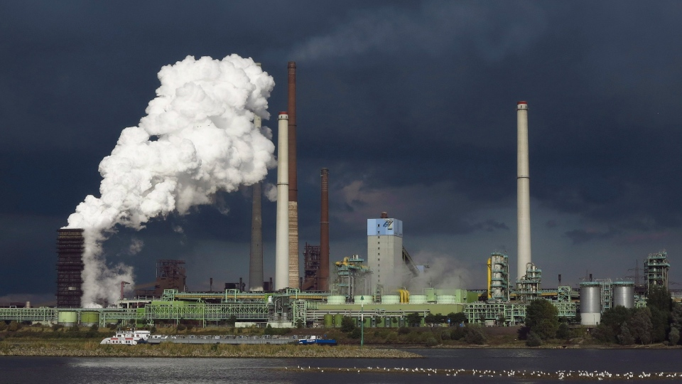 This is a Sept. 19, 2012 file photo of the ThyssenKrupp Kokerei Schwelgern steel plant on the river Rhine in Duisburg, Germany. (AP / Frank Augstein)