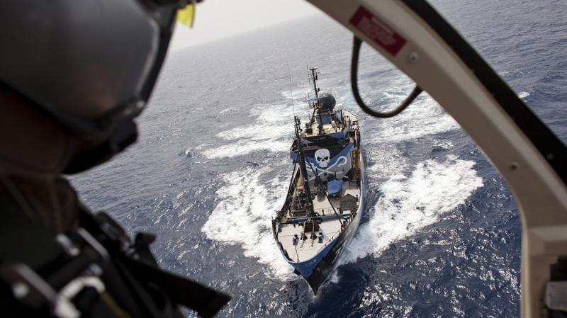 In this photo provided by the Sea Shepherd Conservation Society and taken Wednesday, June 8, 2011, the Steven Irwin, owned by the Sea Shepherd Conservation Society, is seen from the helicopter it carries on board. (AP Photo/Sea Shepherd Conservation Society, Michelle McCarron)