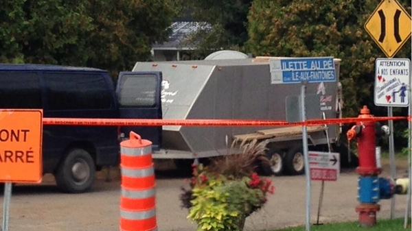 Police have taped off the scene of the death of Rene Charlebois in Sorel (CTV Montreal/Stephane Giroux)