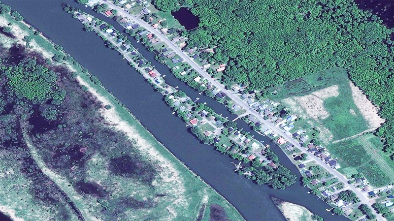 Sorel's l'île aux Fantômes - aka Ghost Island - is home to about 30 houses. (Image: Bing Maps)