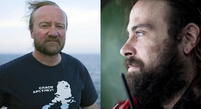 Canadian Greenpeace activists Paul Ruzycki, left, and Alexandre Paul. (Greenpeace / christyarctic on Twitter)