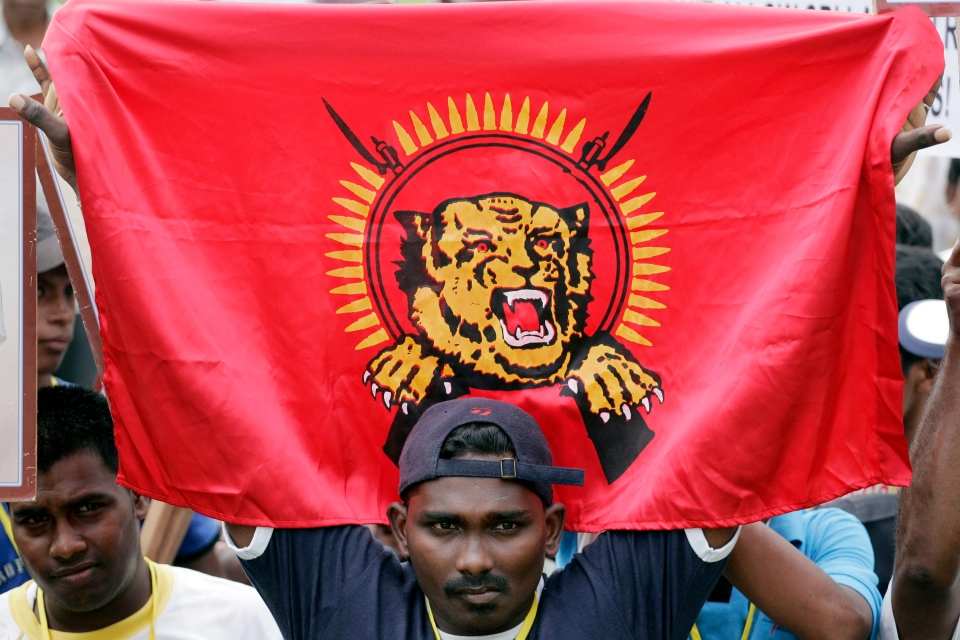A Malaysian protester of Tamil ethnicity holds a flag of Liberation Tigers of Tamil Eelam (LTTE) during a demonstration in this 2009 file photo. (AP Photo/Lai Seng Sin)