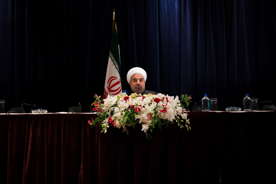 Iranian President Hassan Rouhani speaks during a news conference at the Millennium Hotel in midtown Manhattan, on Friday, Sept. 27, 2013. (AP / John Minchillo)