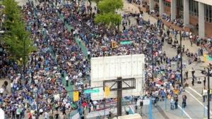 Ronnie Miranda's panoramic gigapixel photo shows the Georgia Street Canucks fan zone before Game 5 against the Boston Bruins. June 10, 2011. (gigapixel.com)