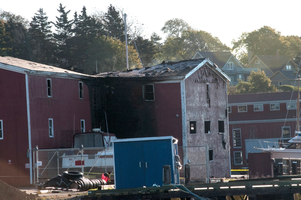 The aftermath fire at the Scotia Trawler Building is shown in Lunenburg, N.S. on Saturday, Sept. 28, 2013. (Louise Muenstermann / MyNews.CTVNews.ca)