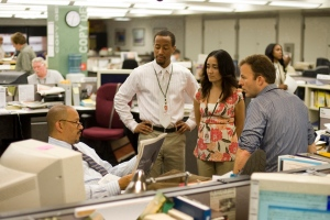 Clark Johnson, Brandon Young, Michelle Paress, and Tom McCarthy in a scene from the final season of 'The Wire.' (Paul Schiraldi / HBO)