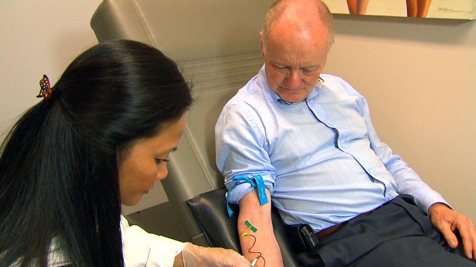 Bob Ramsay undergoes telomere testing at the Executive Health Centre in Toronto.
