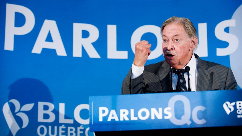 In this file photo, former Quebec premier Jacques Parizeau speaks during a Bloc Quebecois campaign stop in Longueuil, Que., Monday, April 25, 2011. (Graham Hughes / THE CANADIAN PRESS)