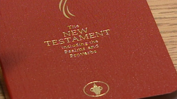A Gideon Bible is seen in this undated image taken from video.