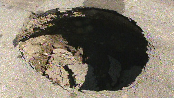 A sinkhole was found on Snyder's Road East in Baden, Ont. on Tuesday, June 14, 2011.